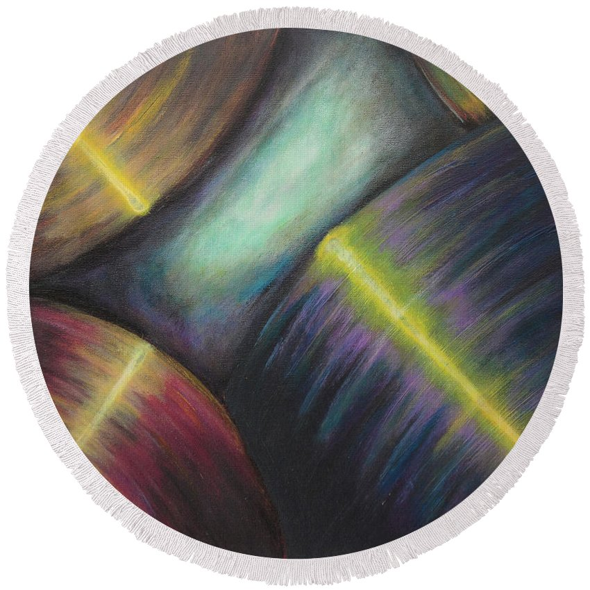 Acrylic Round Beach Towel featuring the painting A Gathering by Ross Parker