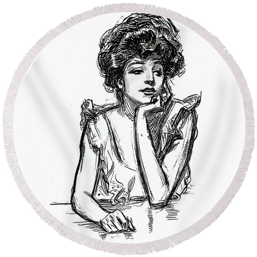 A Gibson Girl Posing Round Beach Towel For Sale By Charles Dana Gibson