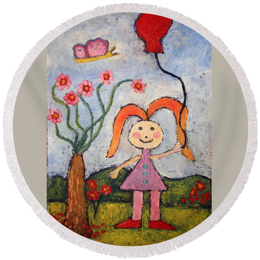 Girl Round Beach Towel featuring the painting A Girl With A Balloon by Ioulia Sotiriou