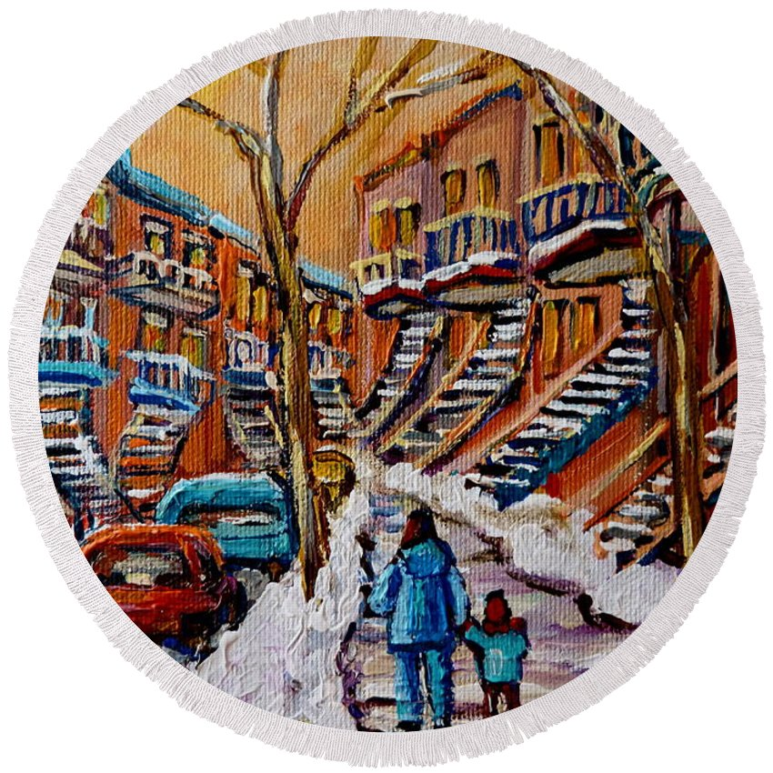 Montreal Round Beach Towel featuring the painting A Glorious Day by Carole Spandau
