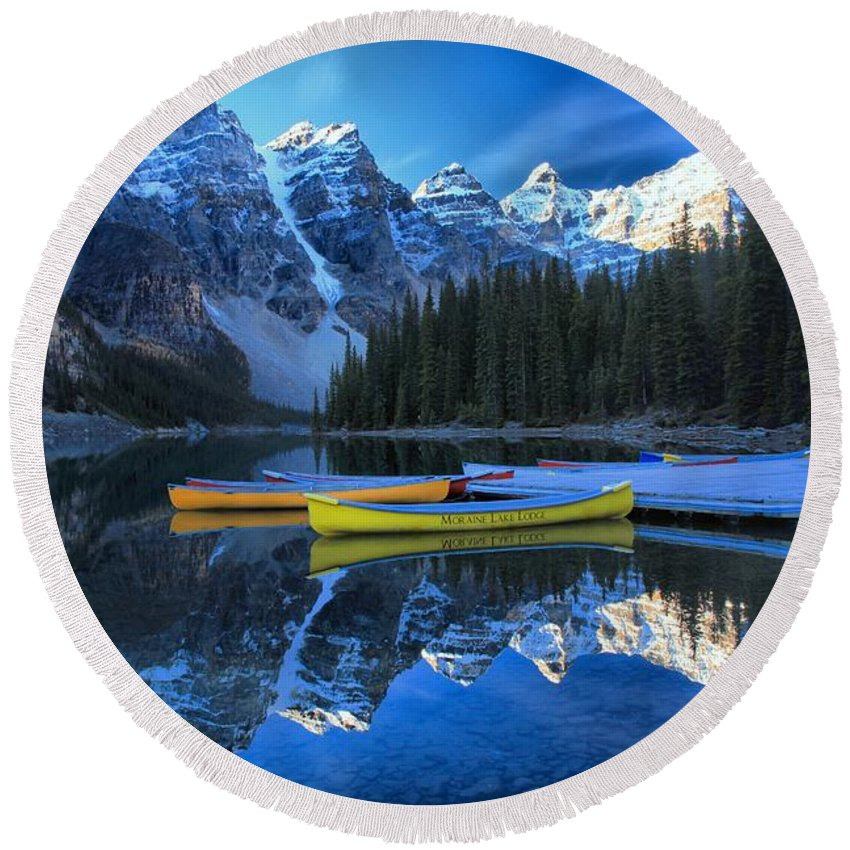 Moraine Lake Round Beach Towel featuring the photograph A Glorious Morning by Adam Jewell