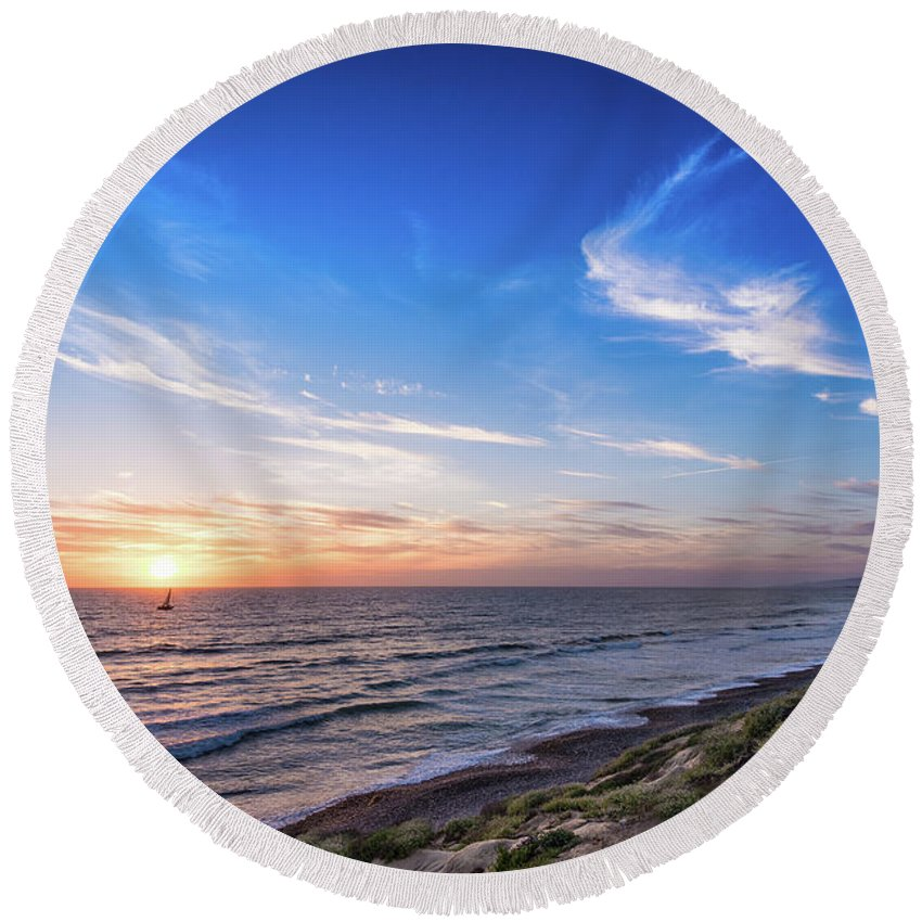 Beach Round Beach Towel featuring the photograph A Glorious Sunset At North Ponto, Carlsbad State Beach by David Levin