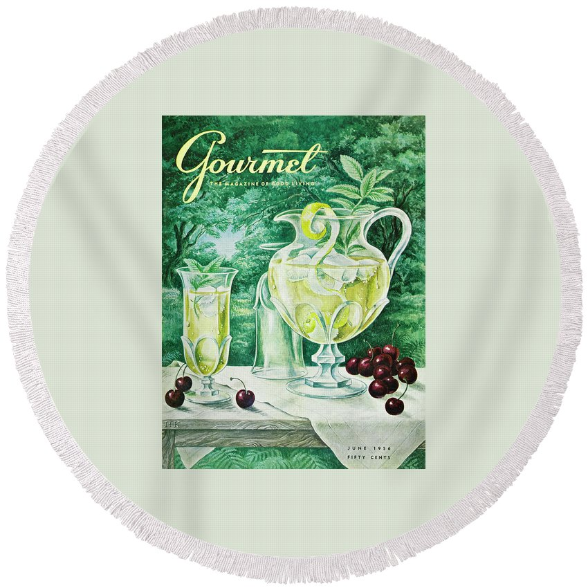 Food Round Beach Towel featuring the photograph A Gourmet Cover Of Glassware by Hilary Knight