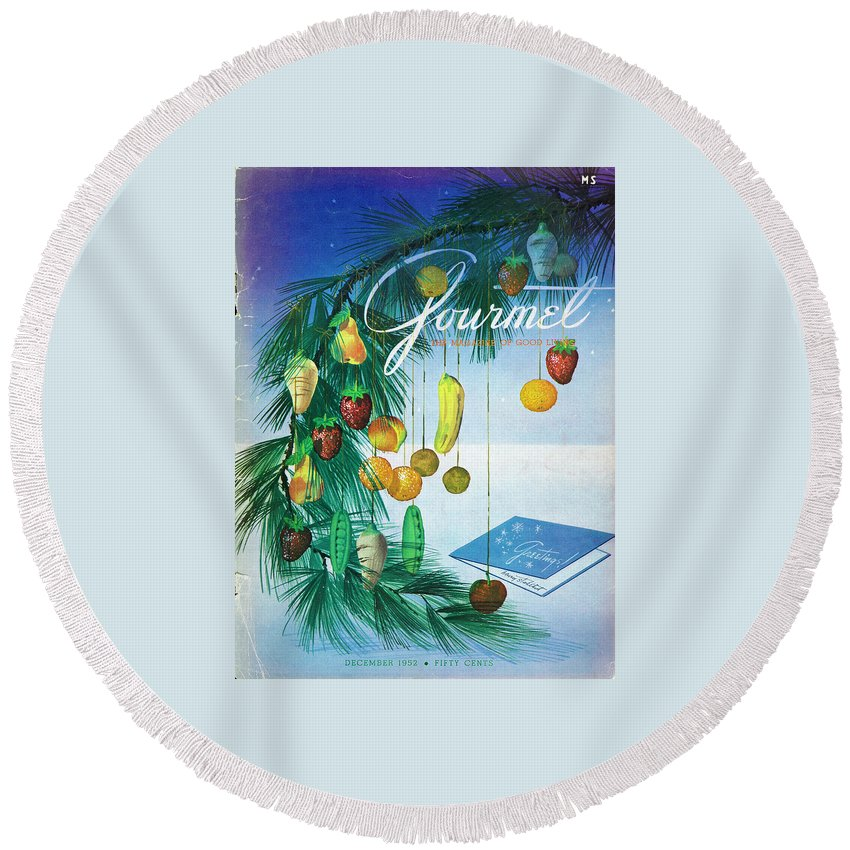 Food Round Beach Towel featuring the photograph A Gourmet Cover Of Marzipan Fruit by Henry Stahlhut