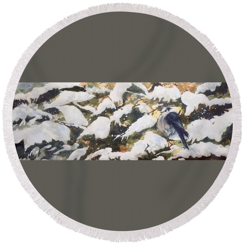 Gray Jay Round Beach Towel featuring the painting A Gray Jay Kind Of Day by Sarah Guy-Levar