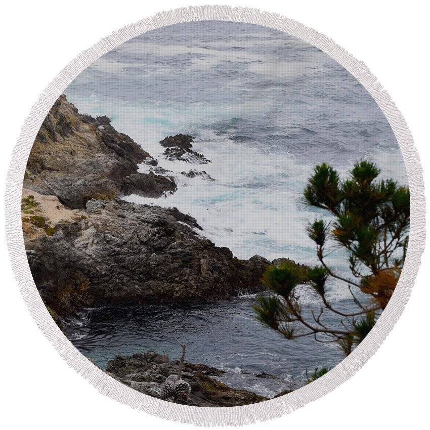 A Grey Day At Big Sur 2 Round Beach Towel featuring the painting A Grey Day At Big Sur by Barbara Snyder