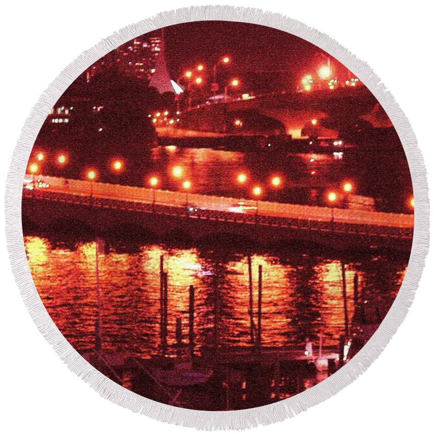 Biscayne Bay Round Beach Towel featuring the photograph A Hot Night On Biscayne Bay by Margaret Bobb