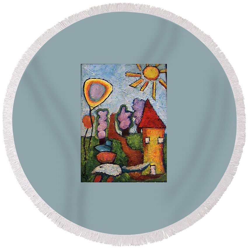 Landscape Round Beach Towel featuring the painting A House And A Mouse by Ioulia Sotiriou