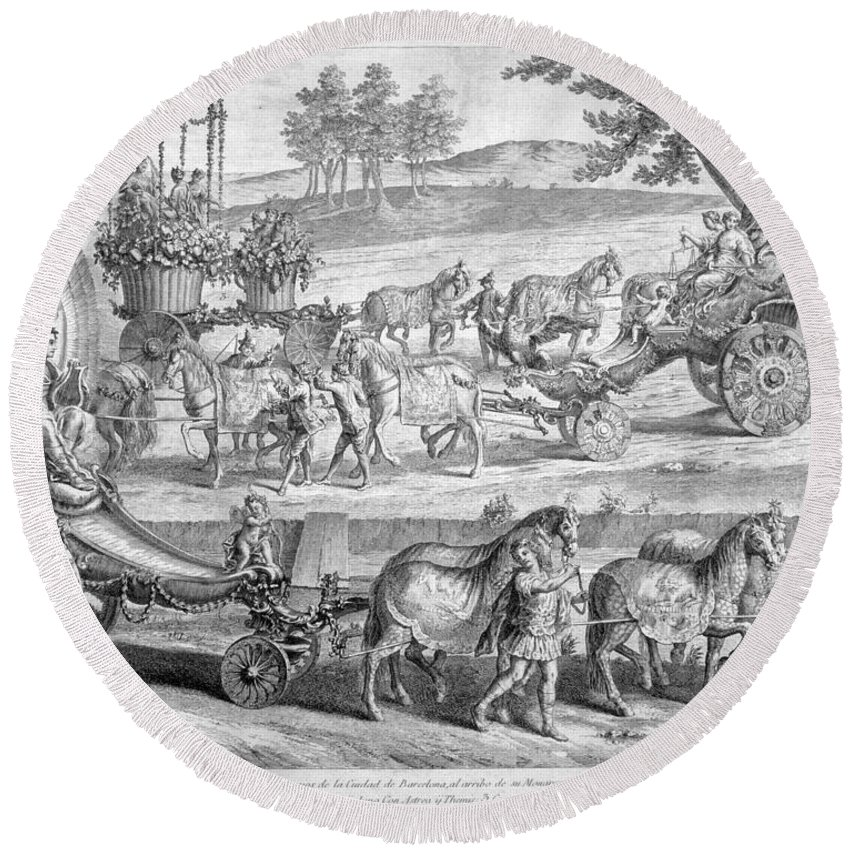 A J Defehrt Round Beach Towel featuring the drawing Chariot Of Apollo by A J Defehrt