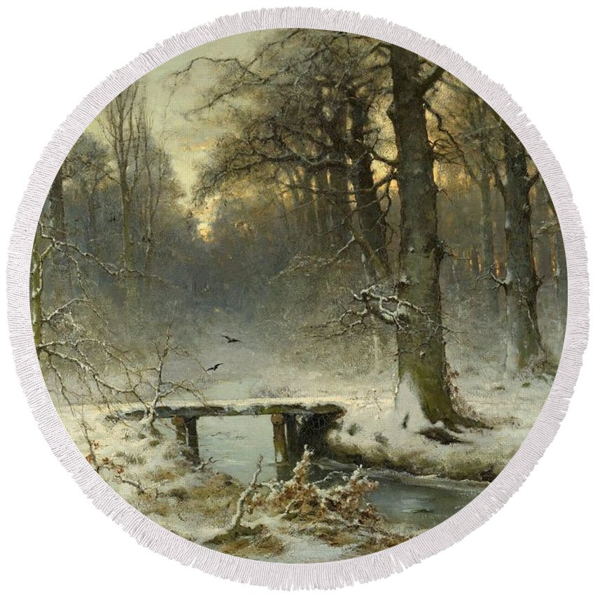 A January Evening Round Beach Towel featuring the painting A January Evening In The Woods by Movie Poster Prints