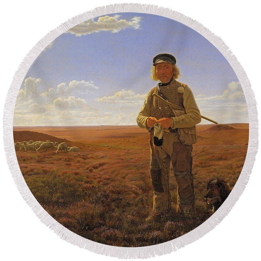 Frederik Vermehren Round Beach Towel featuring the painting A Jutland Sheperd On The Moors by Frederik Vermehren