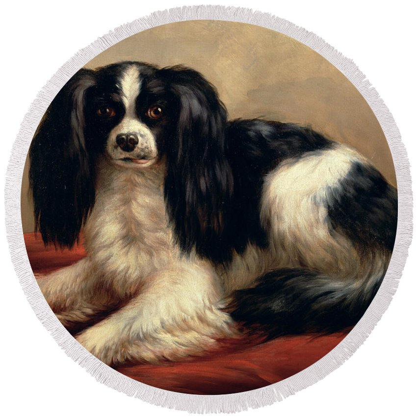 A King Charles Spaniel Seated On A Red Cushion Round Beach Towel featuring the painting A King Charles Spaniel Seated On A Red Cushion by Eugene Joseph Verboeckhoven