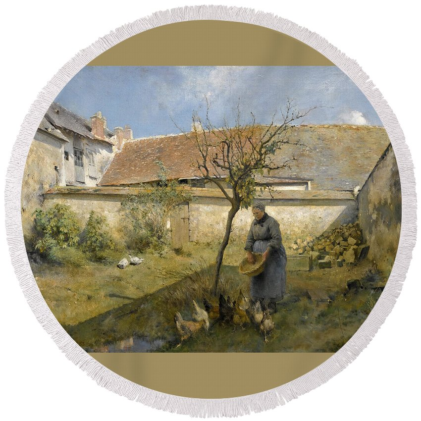 Carl Larsson Round Beach Towel featuring the painting A La Campagne by Carl Larsson