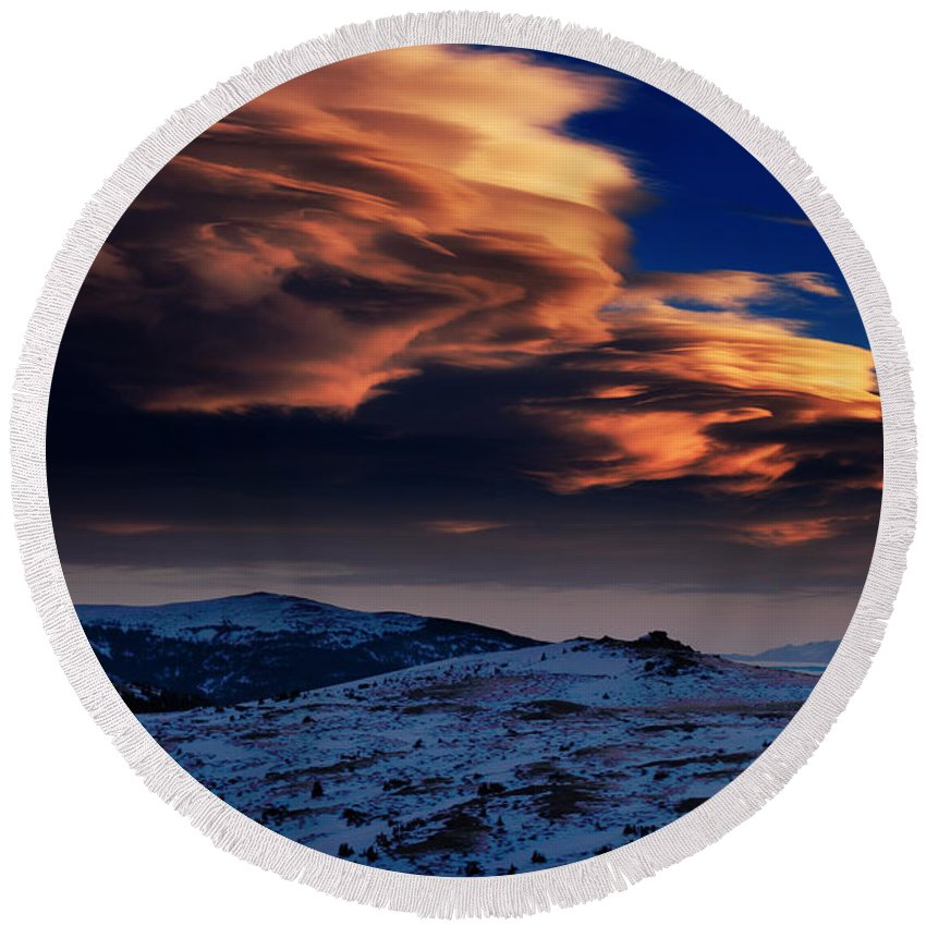 Spectacular Round Beach Towel featuring the photograph A Lenticular Landscape by Brian Gustafson