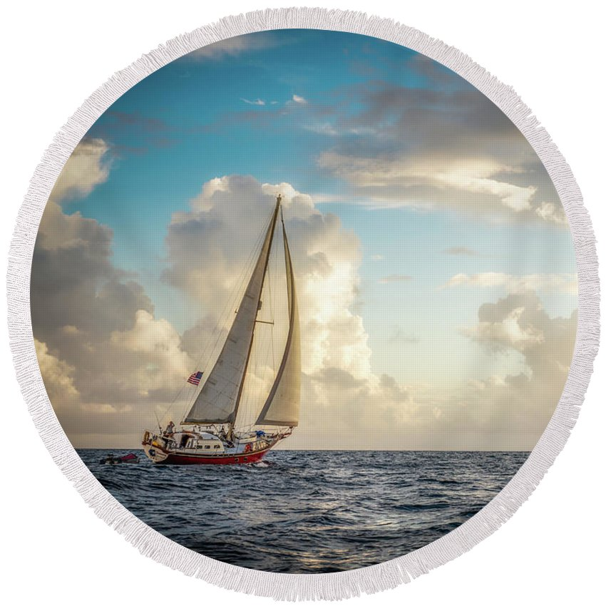 Beautiful Round Beach Towel featuring the photograph A Life At Sea by Michael Tigue
