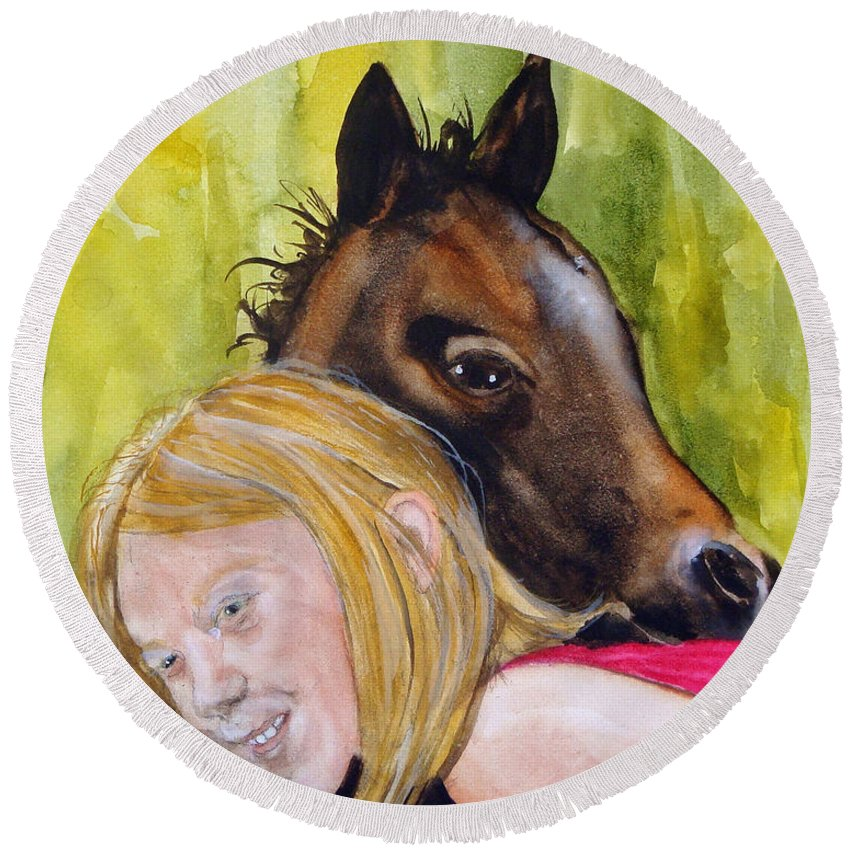 Equine Round Beach Towel featuring the painting A Little Girl's Fancy by Jean Blackmer
