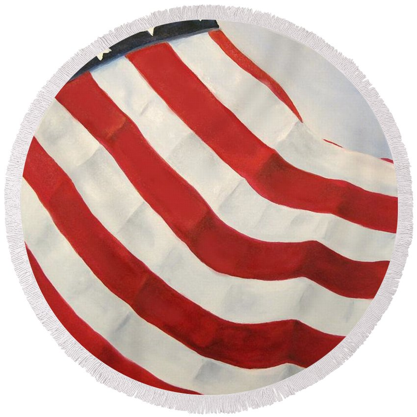 Flag Round Beach Towel featuring the painting A Little Glory by Carol Sweetwood