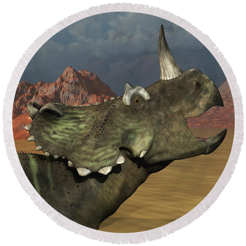 Horizontal Round Beach Towel featuring the digital art A Lone Centrosaurus Dinosaur Calling by Mark Stevenson