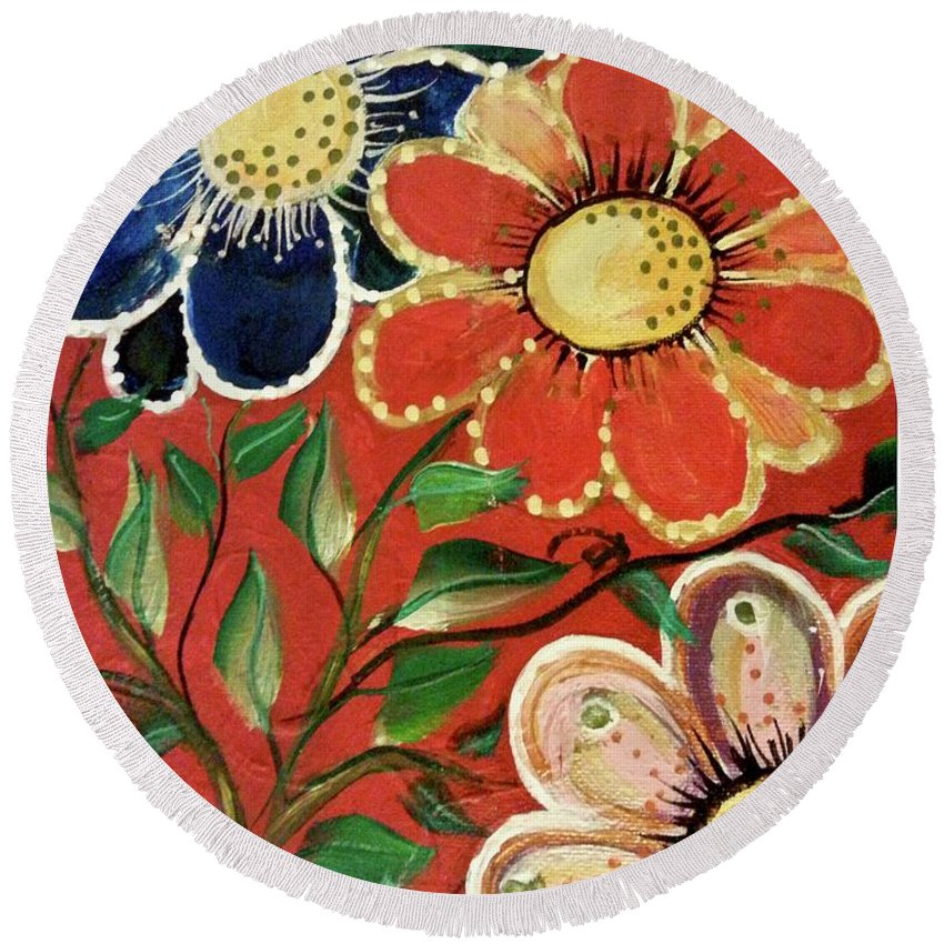 Flowers Round Beach Towel featuring the painting A Trio Of Flowers by Kathy Othon