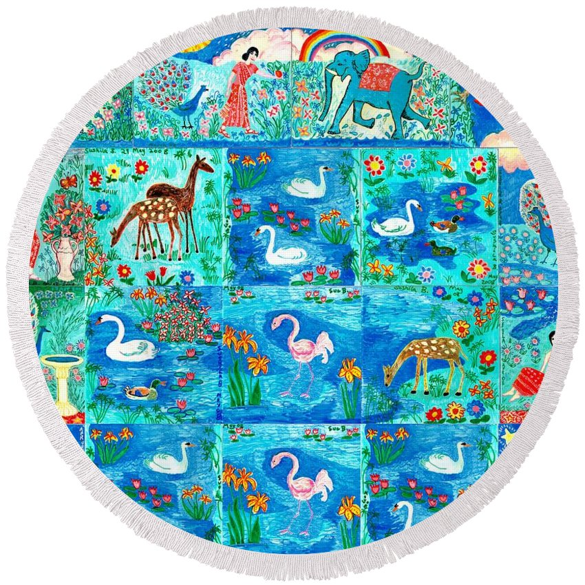 Sue Burgess Round Beach Towel featuring the painting A Magic Country by Sushila Burgess