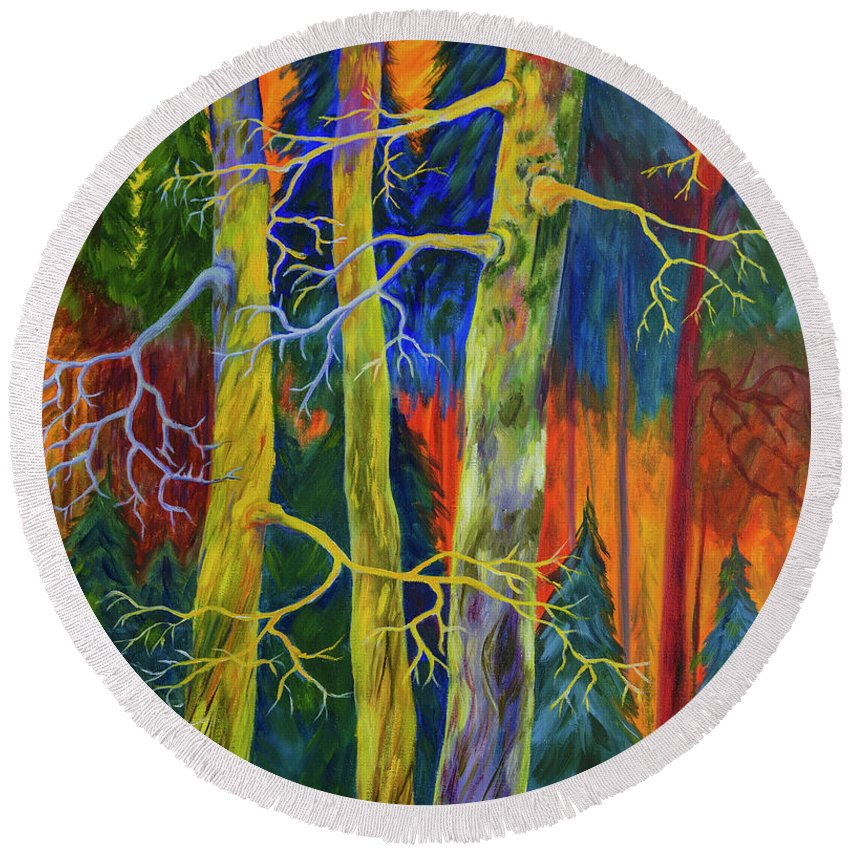 Art Round Beach Towel featuring the painting A Magical Forest by Veikko Suikkanen