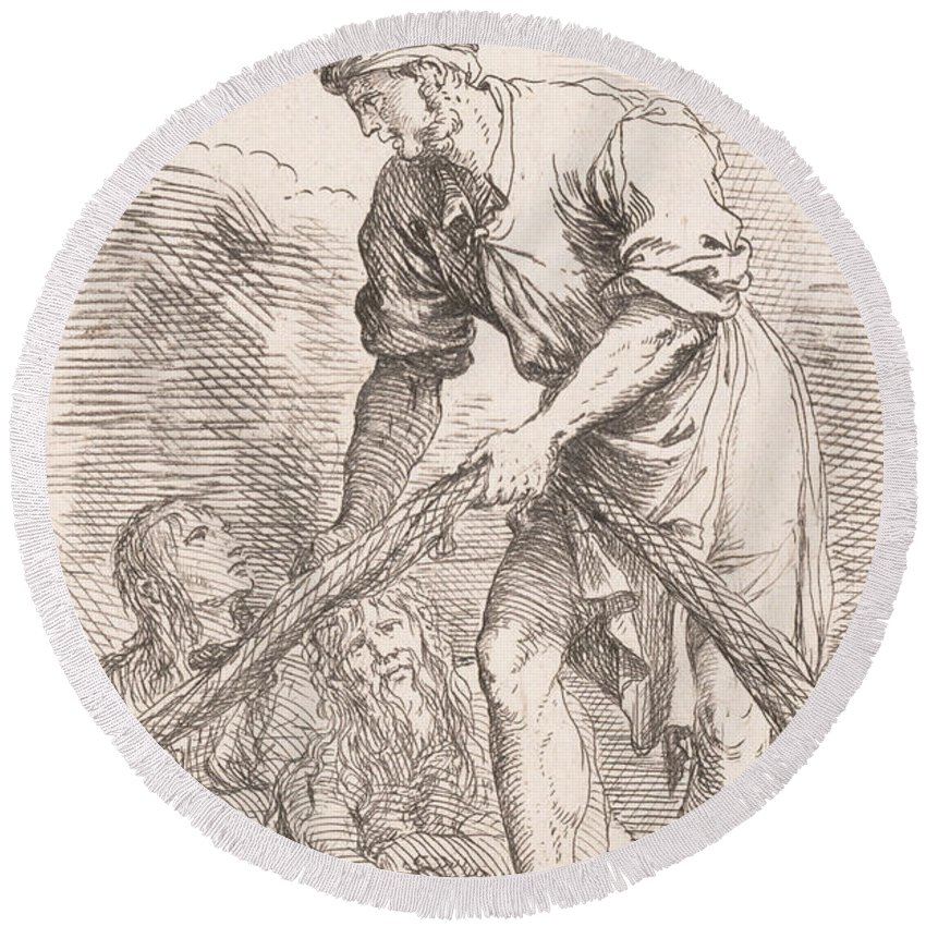 17th Century Art Round Beach Towel featuring the relief A Man Pulling A Net With Two Figures Behind Him by Salvator Rosa