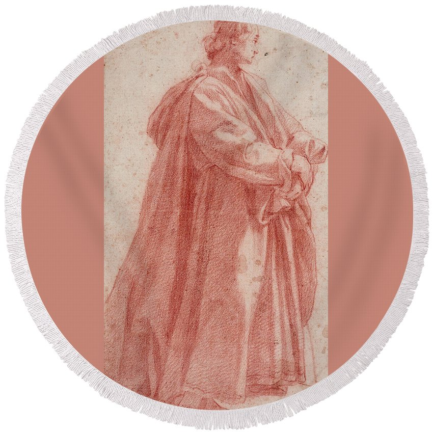 Jacopo Da Empoli Round Beach Towel featuring the drawing A Man Standing To Right by Jacopo da Empoli