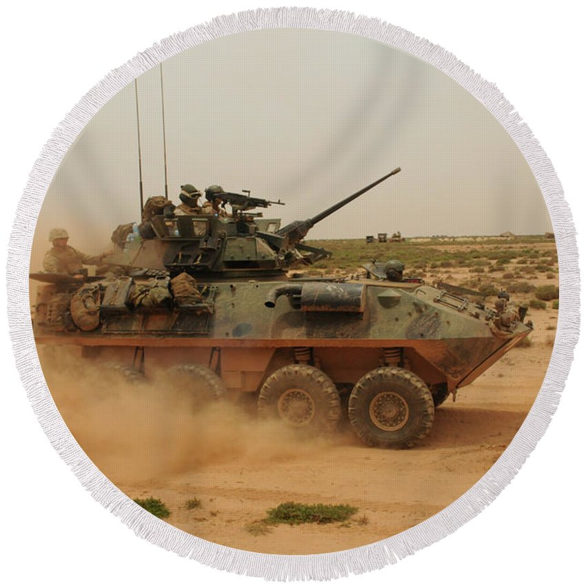 Dust Round Beach Towel featuring the photograph A Marine Corps Light Armored Vehicle by Stocktrek Images