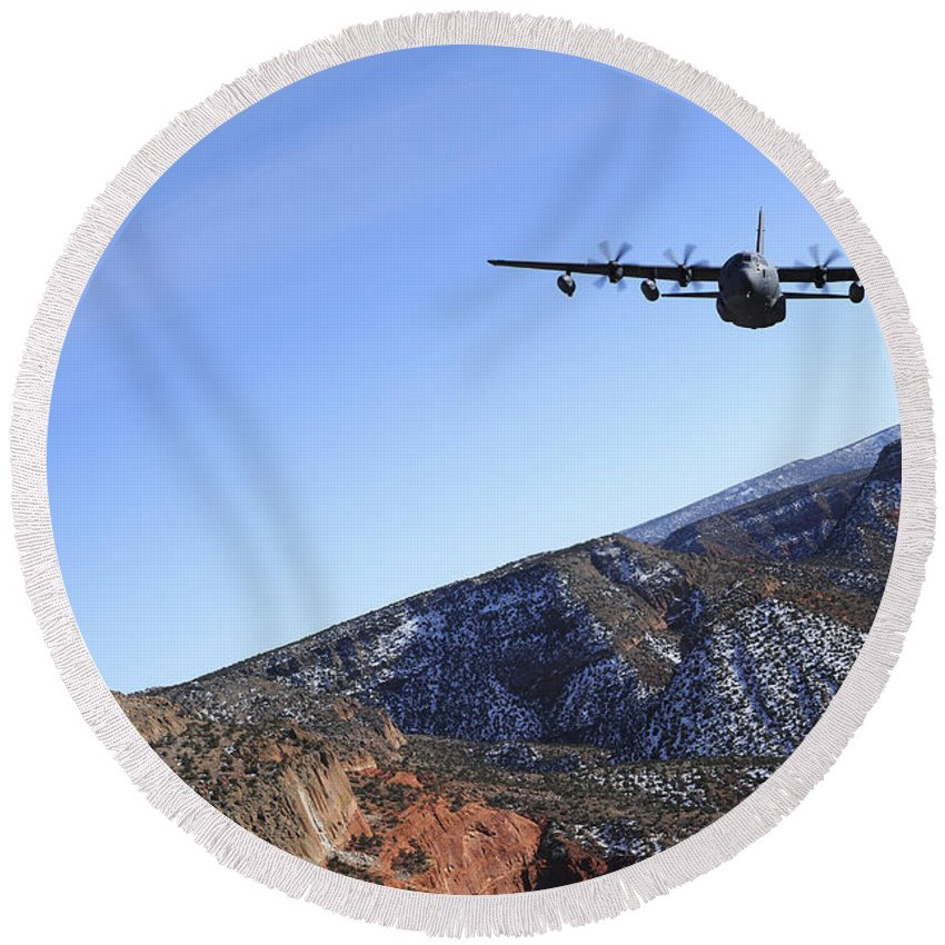 No People Round Beach Towel featuring the photograph A Mc-130j Combat Shadow II Aircraft by Stocktrek Images