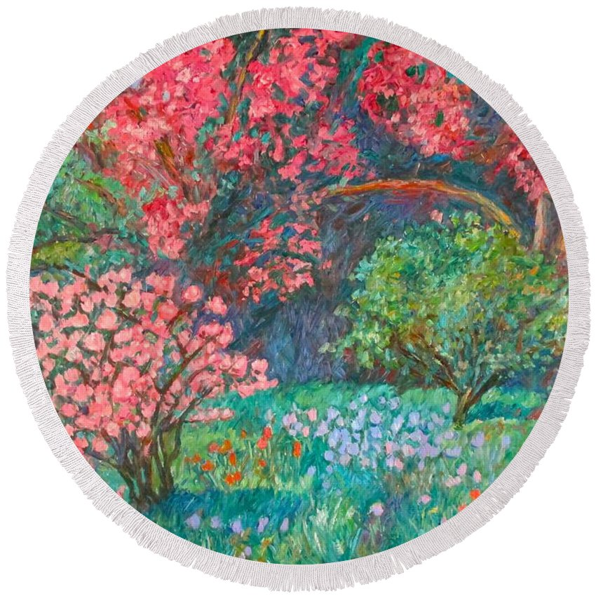 Landscape Round Beach Towel featuring the painting A Memory by Kendall Kessler