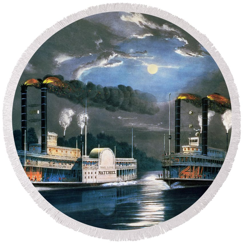 A Midnight Race On The Mississippi Round Beach Towel featuring the painting A Midnight Race On The Mississippi by Currier and Ives