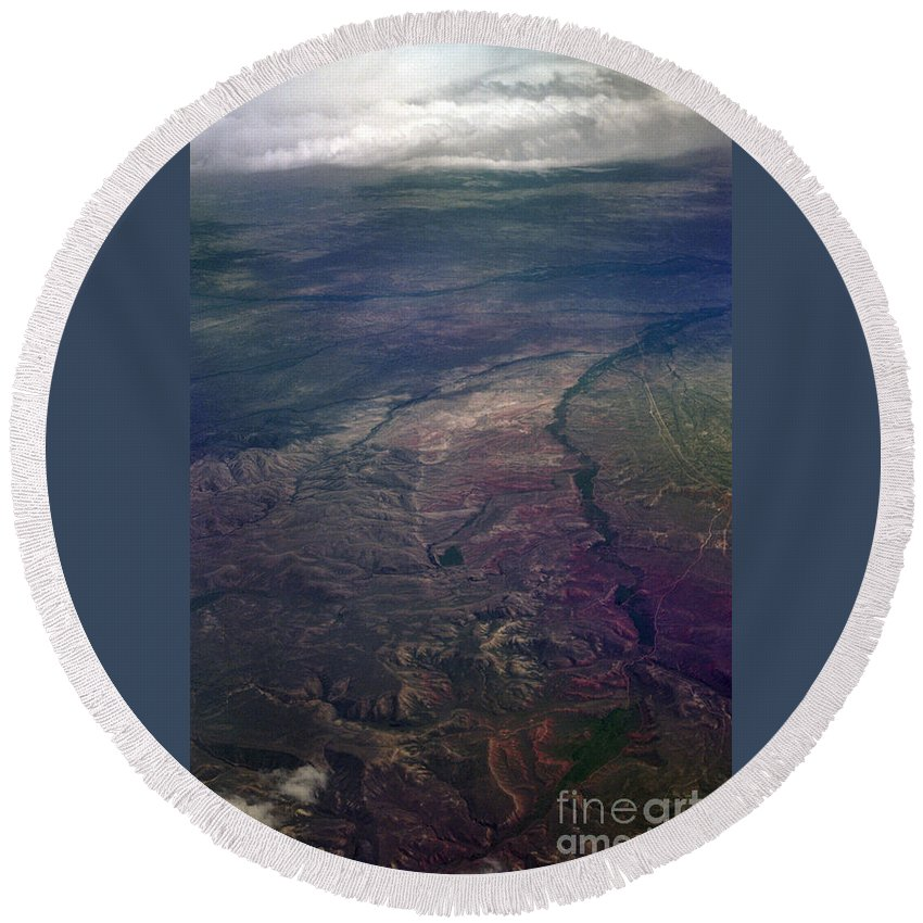 Aerial Photography Round Beach Towel featuring the photograph A Midwestern Landscape by Richard Rizzo