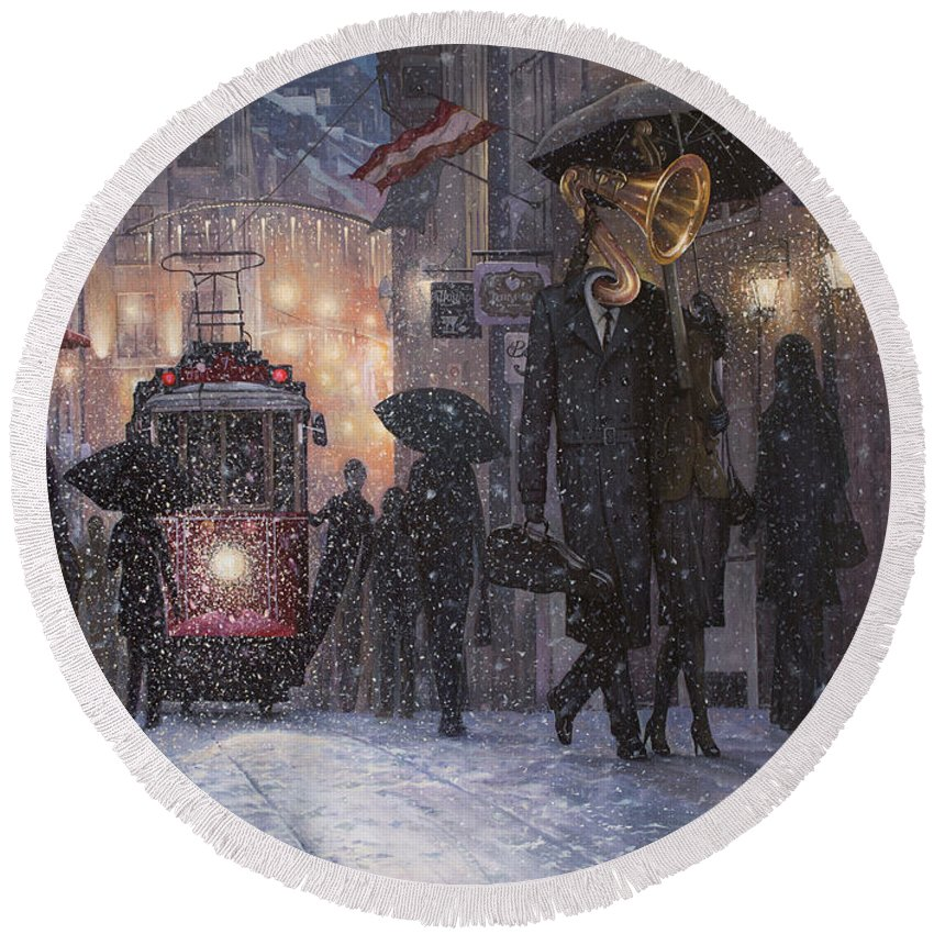 Music Round Beach Towel featuring the painting A Midwinter Night's Dream by Adrian Borda