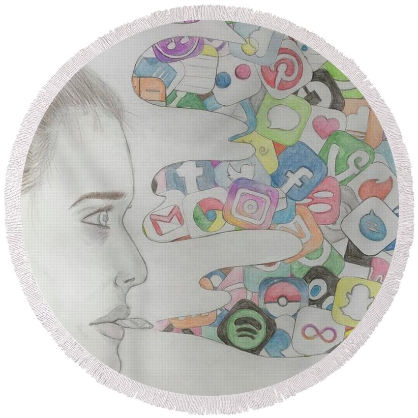 App Round Beach Towel featuring the drawing A Modern Drug by Jenny Kirk
