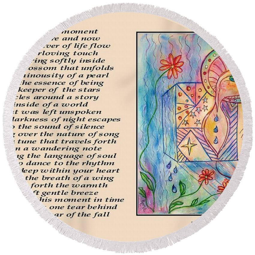 Poetry Round Beach Towel featuring the mixed media A Moment - Poetry In Art by Robin Monroe