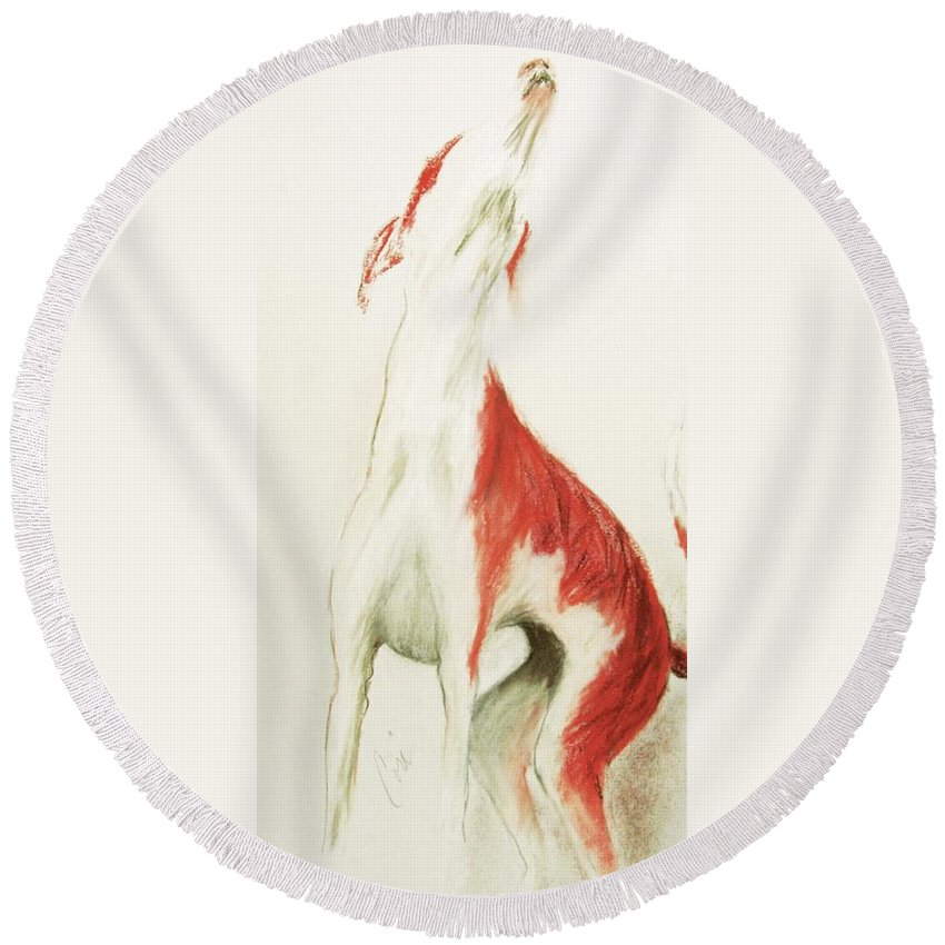 Pastel Round Beach Towel featuring the drawing A Moment In Time by Cori Solomon