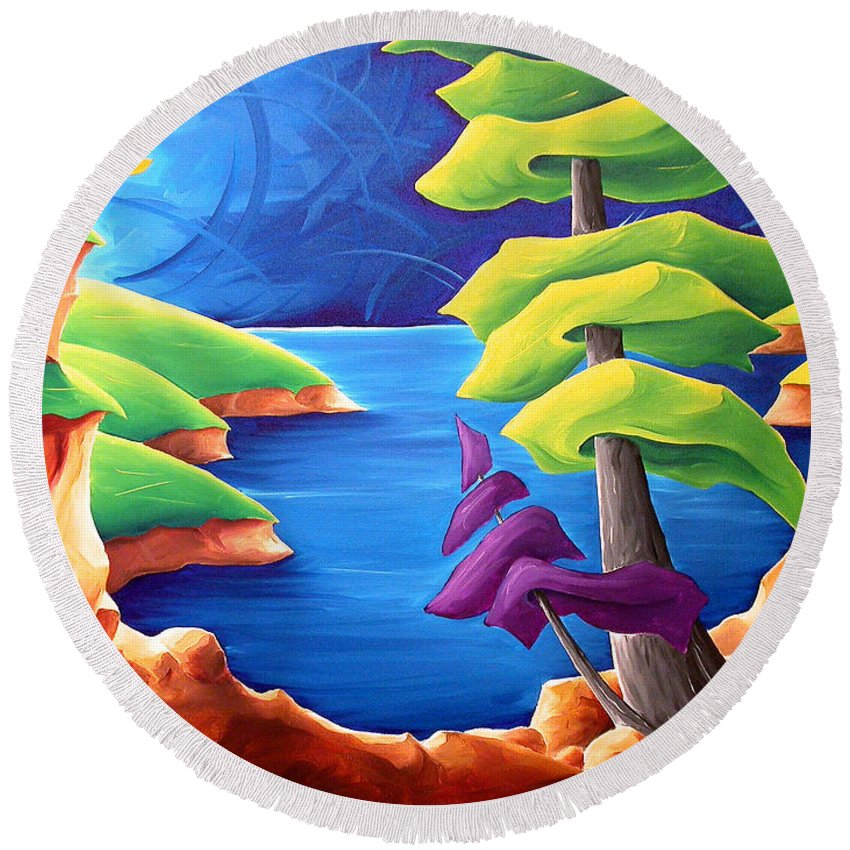 Landscape Round Beach Towel featuring the painting A Moment In Time by Richard Hoedl