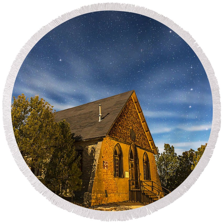 Big Dipper Round Beach Towel featuring the photograph A Moonlit Nightscape Of The Historic by Alan Dyer