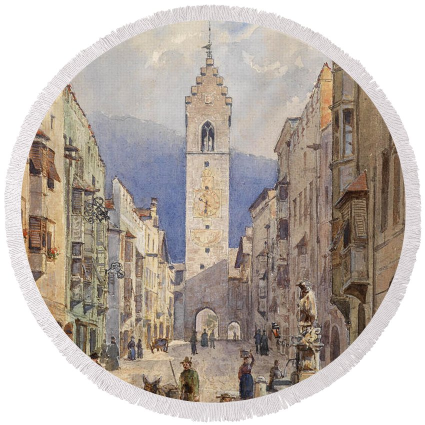 Emil Fenzl Round Beach Towel featuring the drawing A Motif From Sterzing by Emil Fenzl