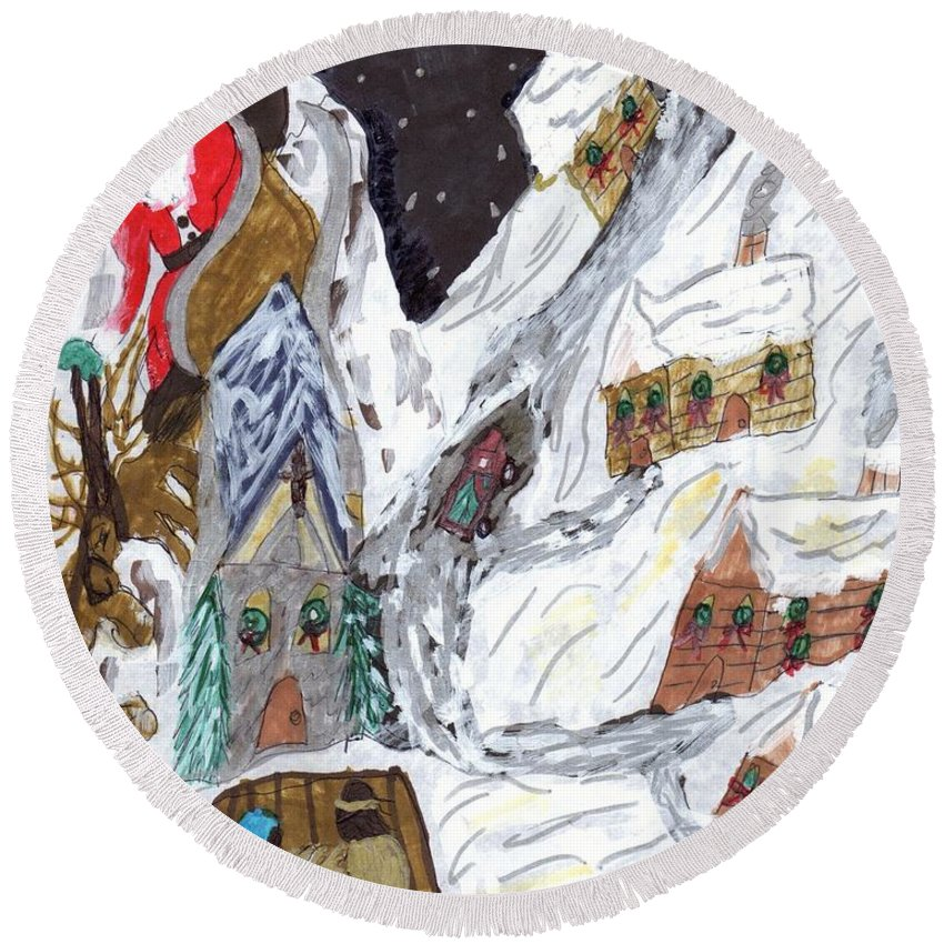 A Christmas Scene In A Mountain Village With Santa And A Living Nativity Round Beach Towel featuring the mixed media A Mountain Village by Elinor Rakowski
