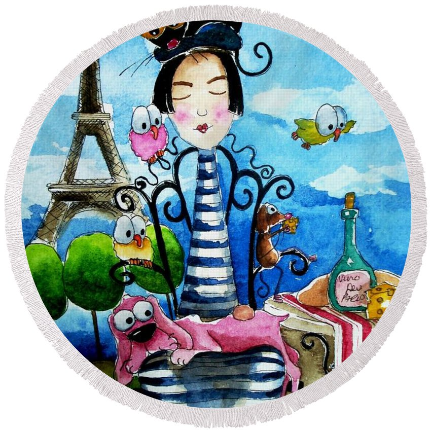 Stressie Cat And Friends Parisian Scene Paris French France Round Beach Towel featuring the painting A Moveable Feast by Lucia Stewart