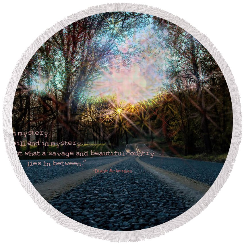 Mysterious Round Beach Towel featuring the photograph A Mysterious Country Road by Mick Anderson