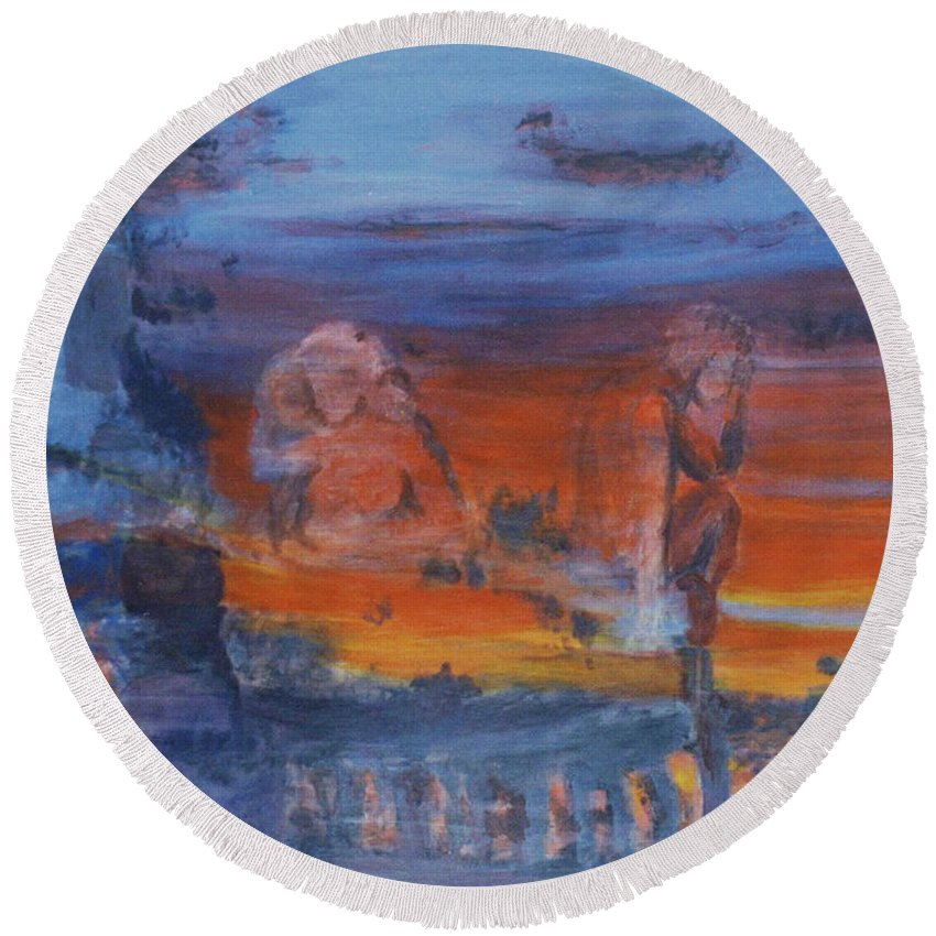 Abstract Round Beach Towel featuring the painting A Mystery Of Gods by Steve Karol
