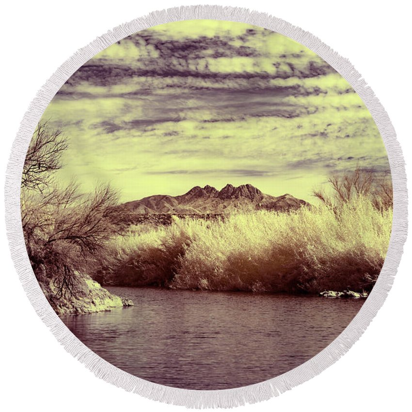 Arizona Round Beach Towel featuring the photograph A Mystical River View by Cathy Franklin