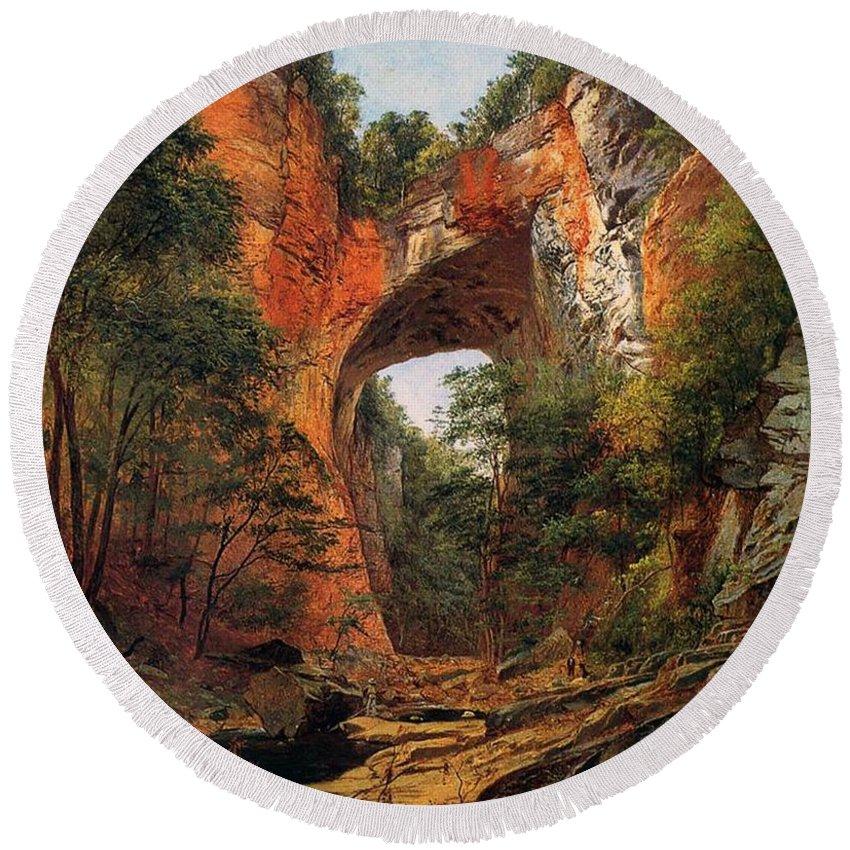 A Natural Bridge Round Beach Towel featuring the painting A Natural Bridge In Virginia by David Johnson