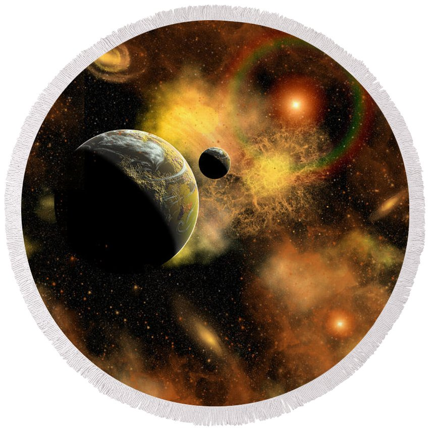 Horizontal Round Beach Towel featuring the digital art A Nebulous Star System In A Distant by Mark Stevenson
