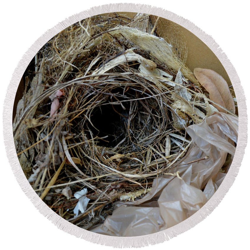 Bird Nest Round Beach Towel featuring the photograph A Nest In A Box by To-Tam Gerwe