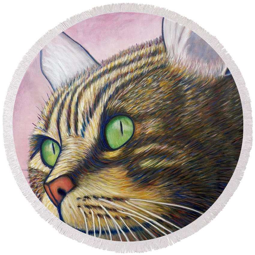 Cat Round Beach Towel featuring the painting A New Day by Brian Commerford