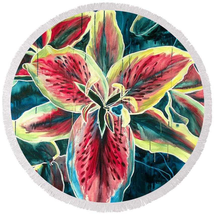 Floral Painting Round Beach Towel featuring the painting A New Day by Jennifer McDuffie