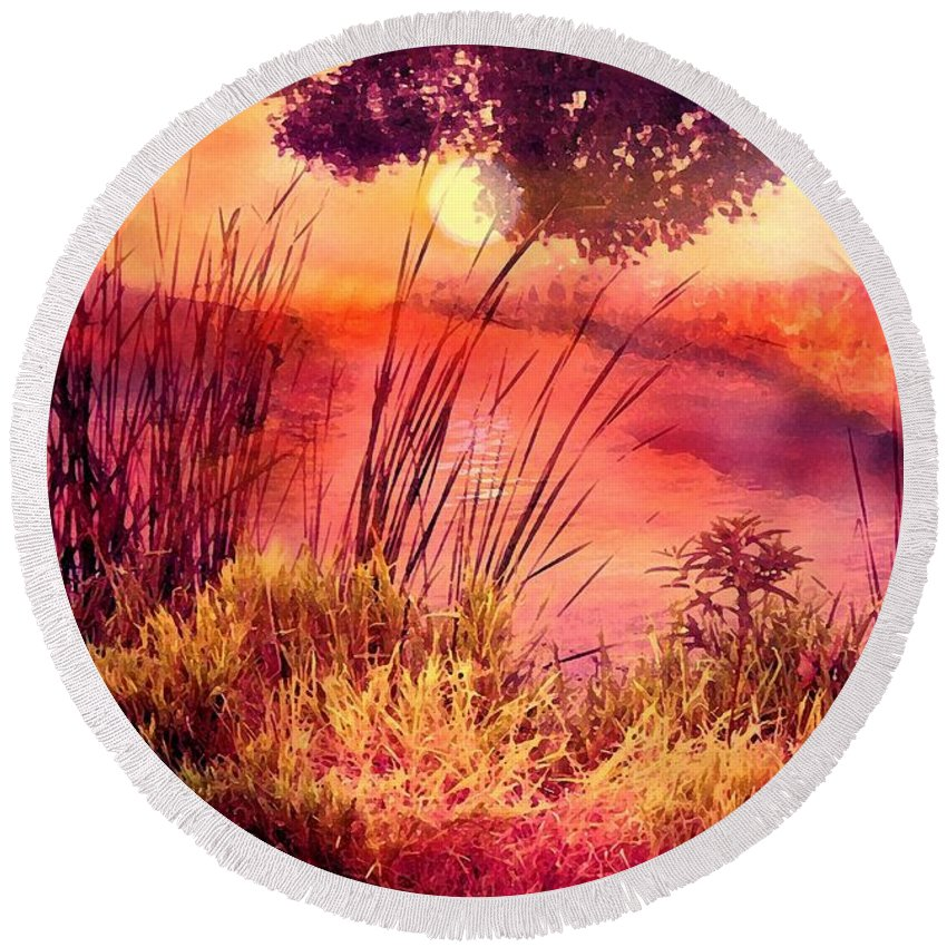 Landscape Round Beach Towel featuring the mixed media A New Day by Robin Monroe